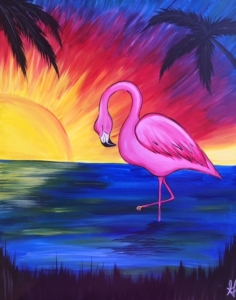 New Event - New Painting. Pink Flamingo. Complimentary mimosa!
