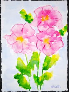 Art for Sale - Three Pink Flowers