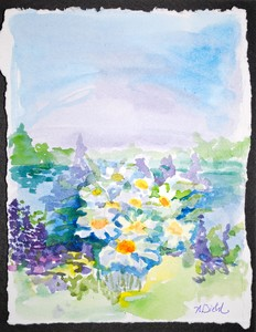 Art for Sale - Flowers by the Water