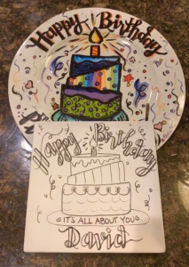 Pre-Sketched Ceramics Plates & Platters - Pre-Sketched 9'Square Birthday Plate