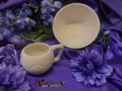 """Discount Party-Pack Ceramics """"To Go"""" - Soccer Bowl & Cup"""