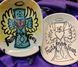 """Discount Party-Pack Ceramics """"To Go"""" - 'Pre-Sketched Small Faith Platter'"""