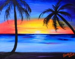 """Pre-sketched Canvases """"To Go"""" - 'Maui Sunset' Pre-Sketched Canvas [click to enlarge]"""